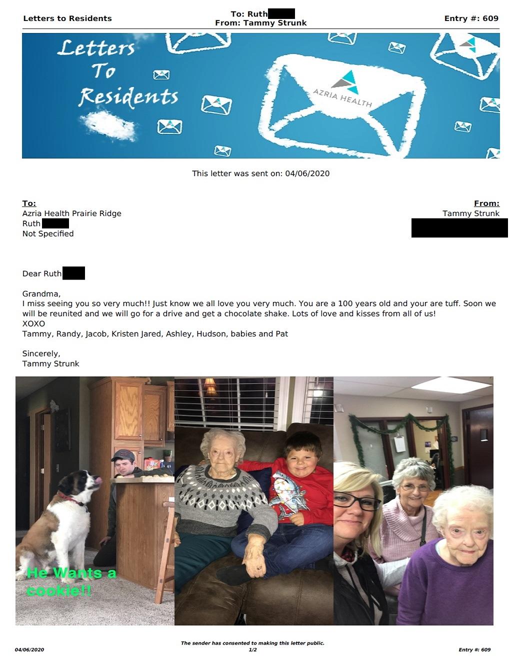 Letter to Prairie Ridge (4/6/2020)