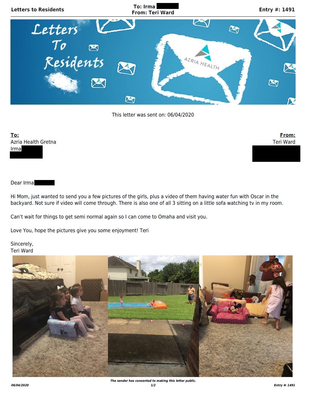 Letter to Gretna (6/4/2020)