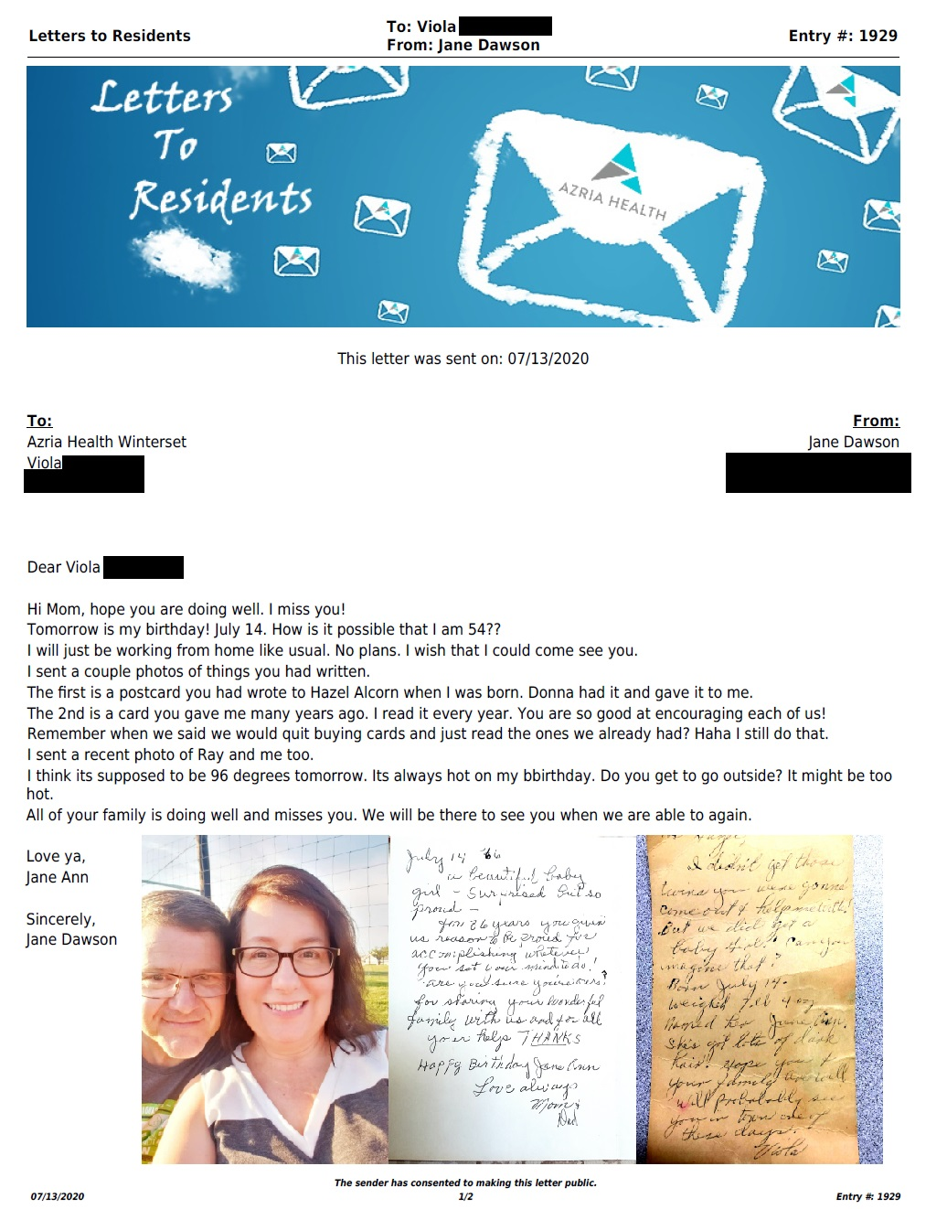 Letter to Winterset (7/13/2020)