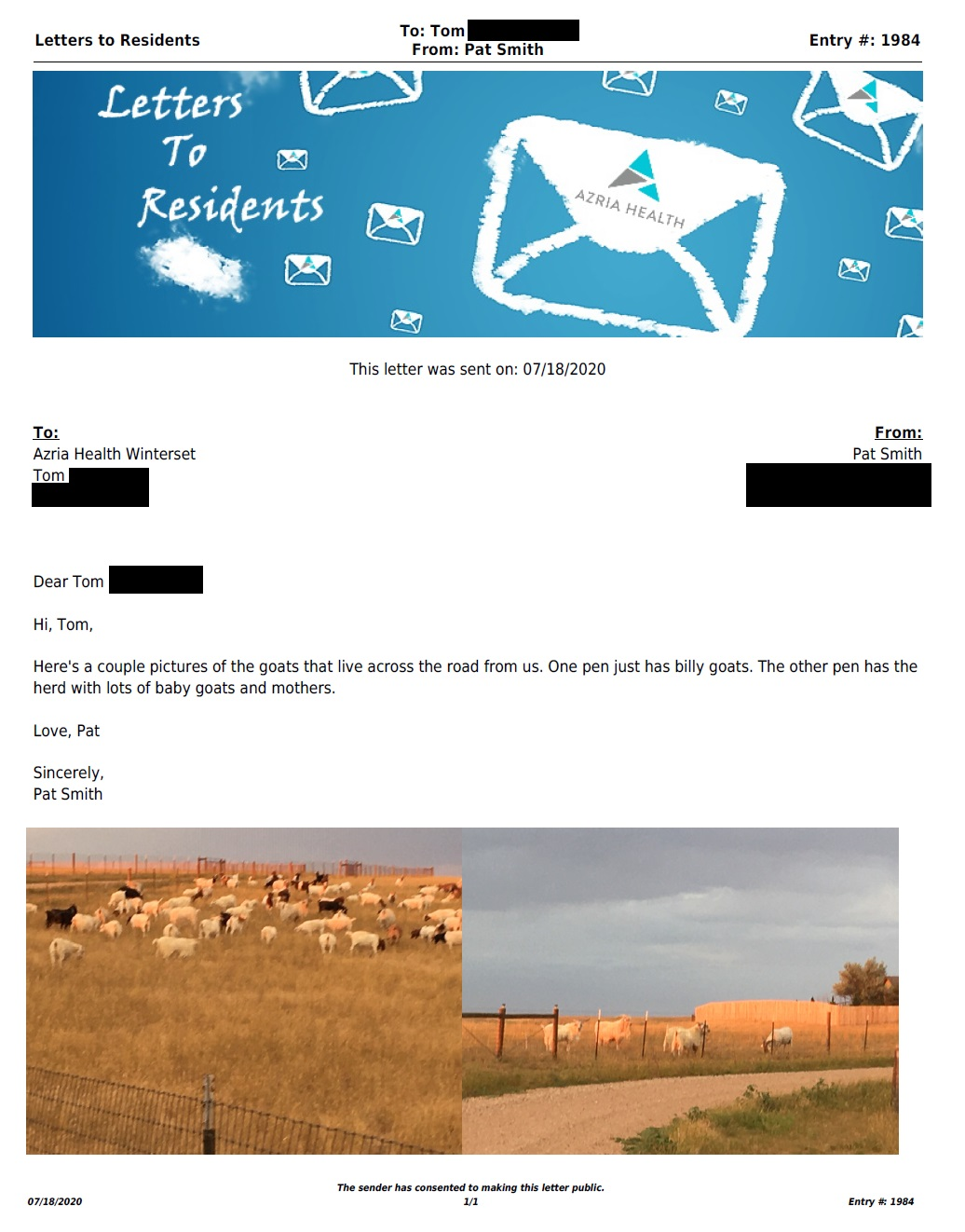 Letter to Winterset (7/18/2020)
