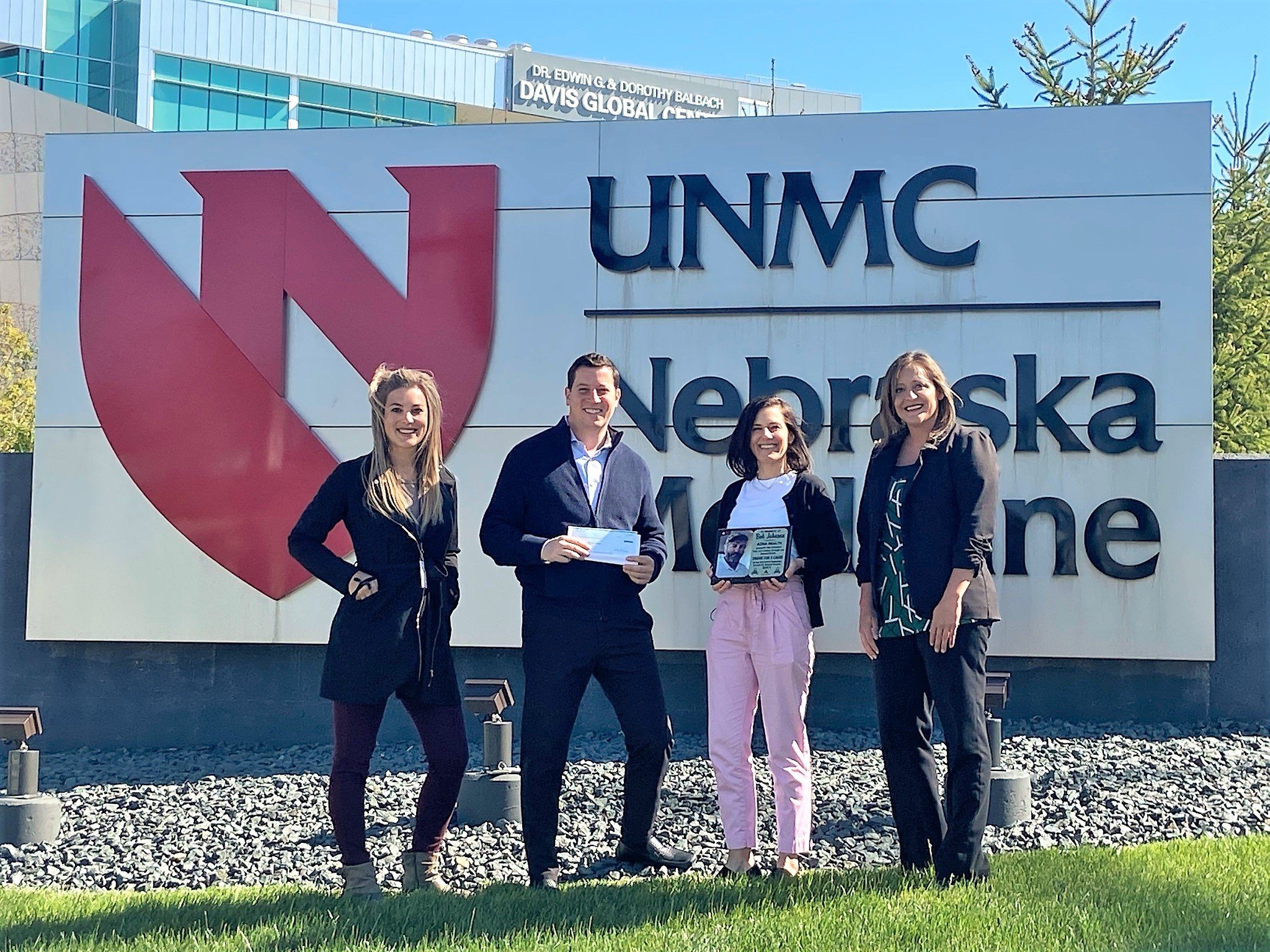 (From Left to Right: Katie Swantek, Regional Director of Talent Acquisitions at Azria Health, Steve Hornung, Principal at Azria Health, Liz Davis, Director of Corporate and Foundation Relations at UNMC, and Carrie Ramaekers, Vice President of Operations at Azria Health.)